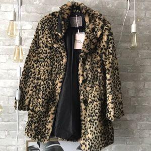 Faux fur leopard print coat